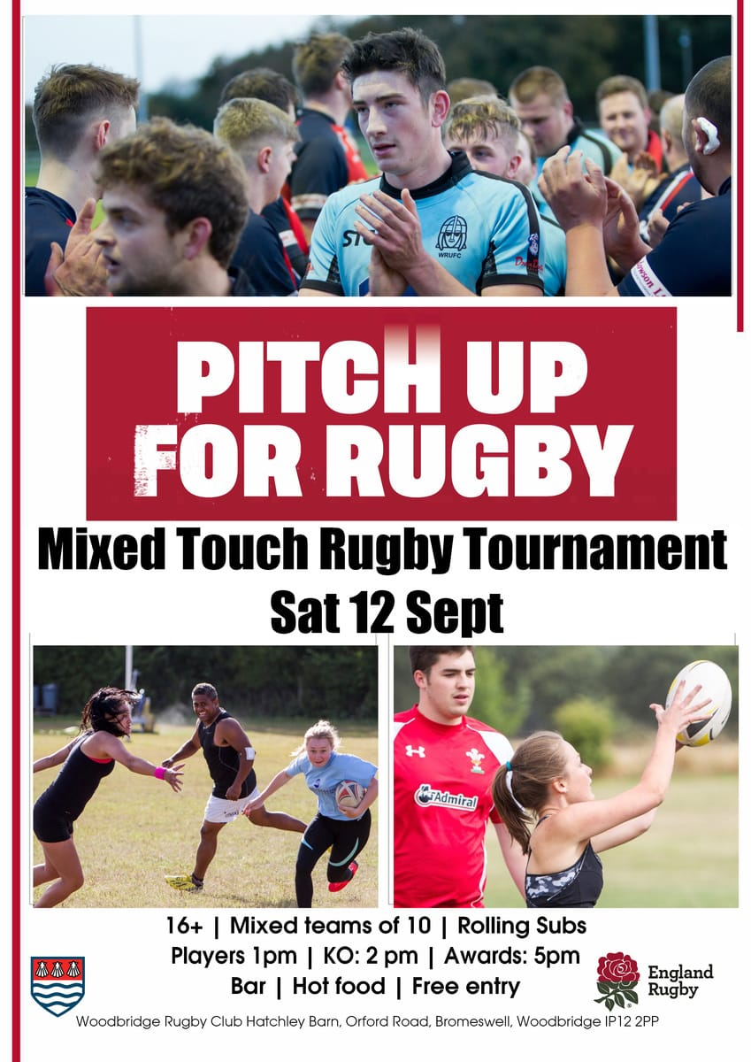 Mixed Touch Rugby Tournament Sat 12 Sept