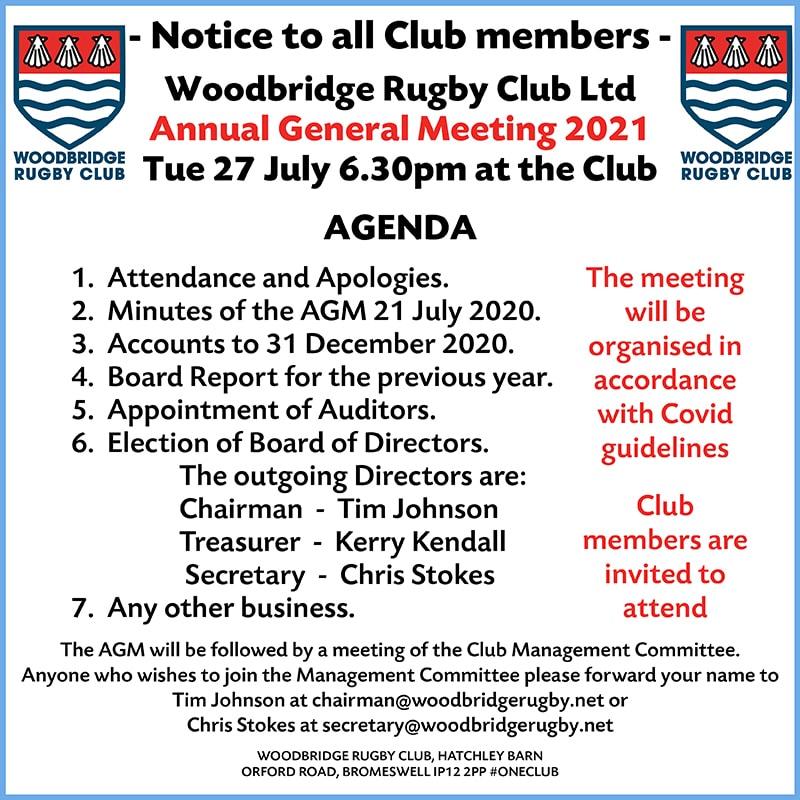 WRUFC Annual General Meeting 2021