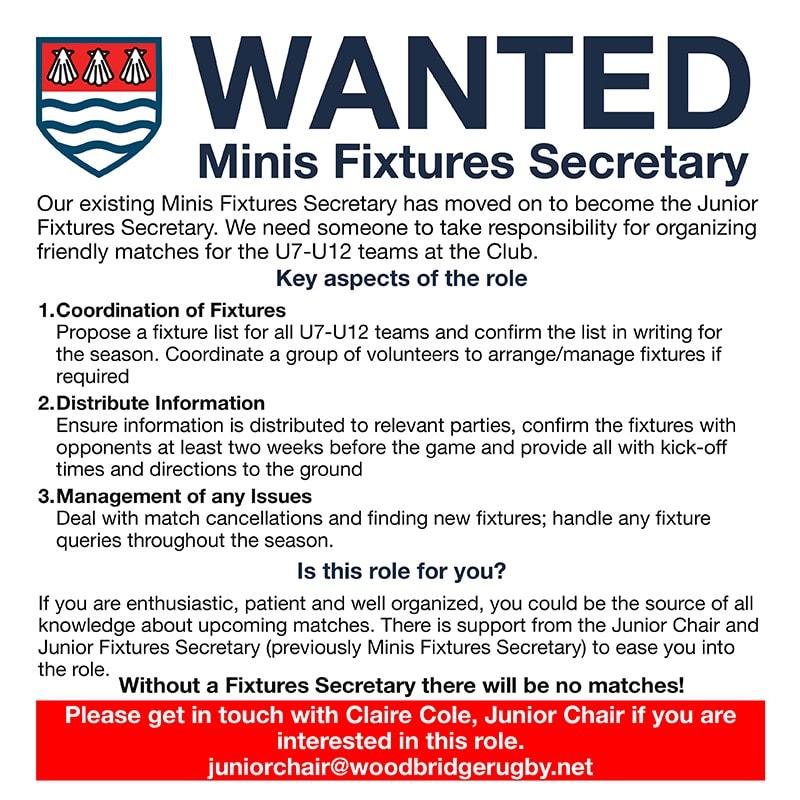 Minis Fixtures Secretary Vacancy
